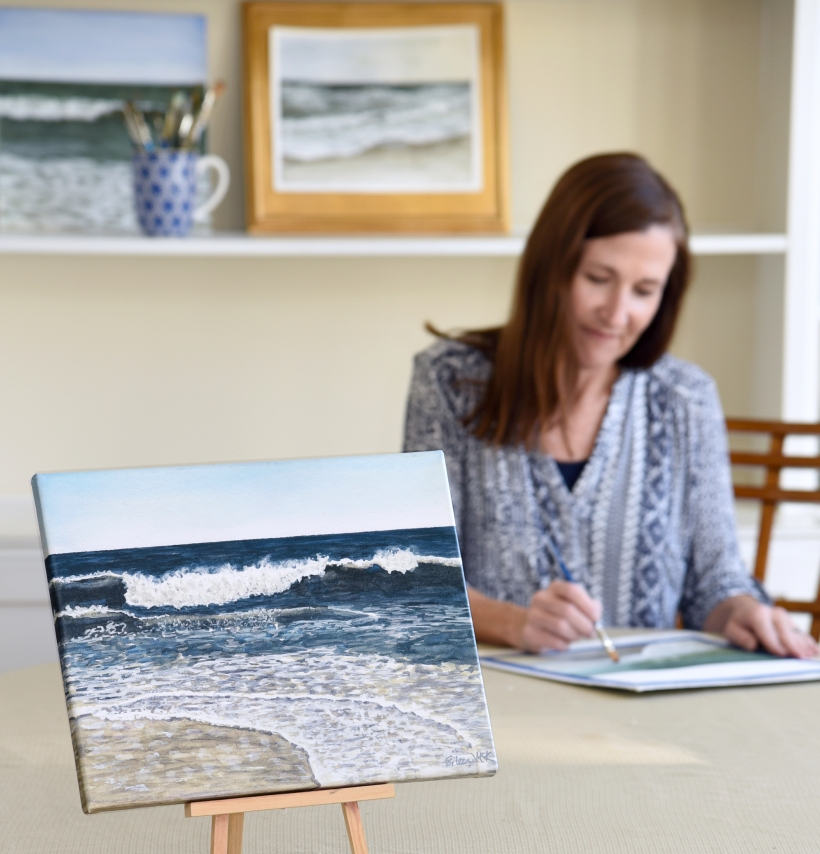 I paint the ocean in watercolor. Eileen McKenna