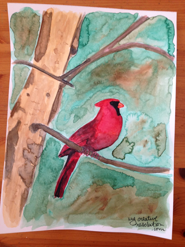 Watercolor cardinal