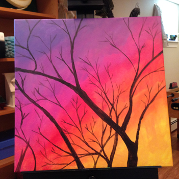 Easy Steps To Paint A Sunset Sky And Tree In Acrylic Paints