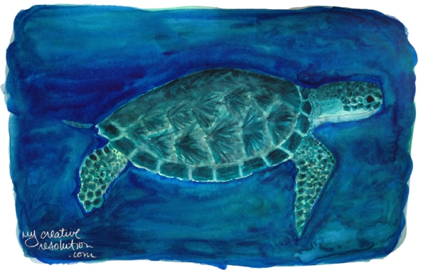 """#5. Sea Turtle. art is 10.25""""w x 6.75"""". Bristol paper is 12x9"""". sizes are approx."""