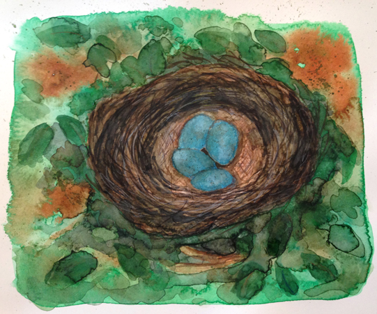 """#7. Nest. Art 6.5 x 7.75"""". Bristol paper is 7.25""""h x 9""""w. sizes are approx."""