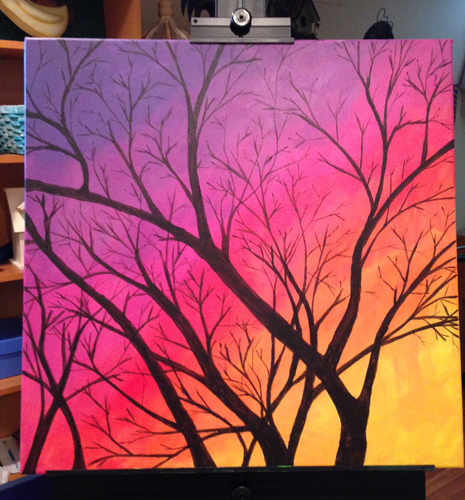 Easy steps to paint a sunset sky with a tree in acrylics