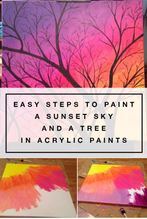 Easy steps to paint a sunset sky and a tree in acrylic paints
