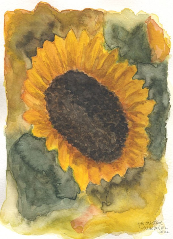 """#4. Sunflower. Watercolor. art is 5""""w x 7"""". watercolor paper 5.75 x 7.75. sizes approx."""