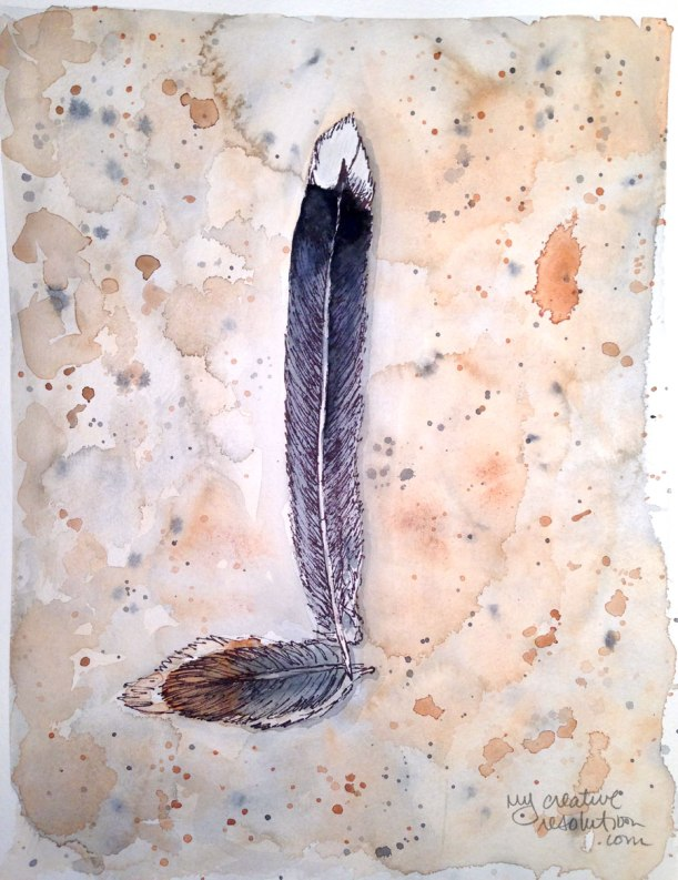 """#3. Feather. Watercolor. Art is 8""""w x 10.75"""" Watercolor paper 9 x 11.75"""" sizes approx."""