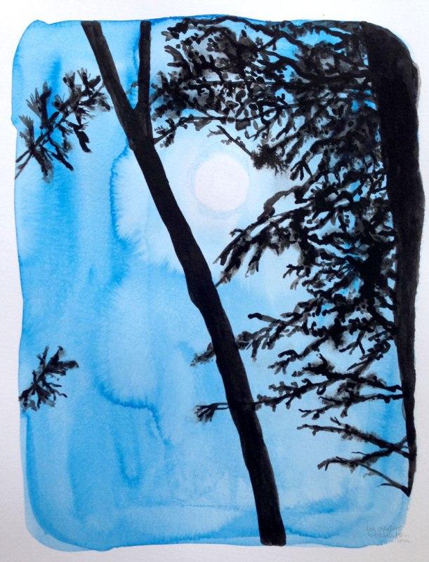 "#12. Moon. art is 7""w x 9.5"". Watercolor paper is 9 x 11.75"". sizes approx."