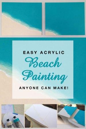 Easy Acrylic Beach Painting anyone can make!