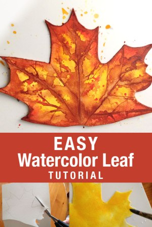 Easy Watercolor Leaf Tutuorial | fall crafts | #fallcrafts