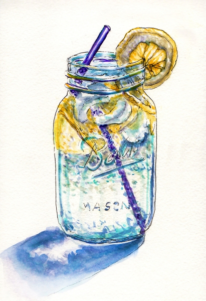 day-28-worldwatercolormonth-ball-mason-jar-with-lemon-and-water