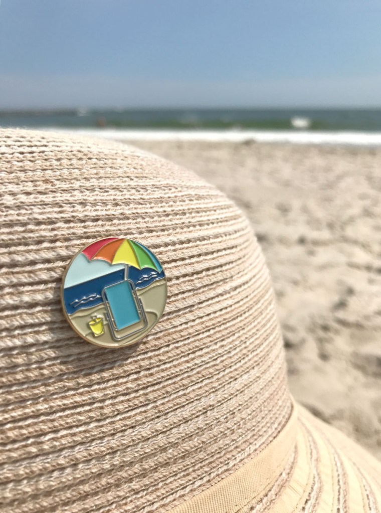 "Beach Pin - 1"" soft enamel pin with rubber clutch"