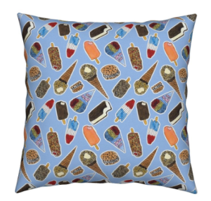 Ice Cream truck treats fabric print on a pillow