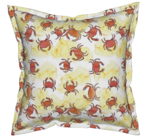 Crabs in the sand fabric pillow
