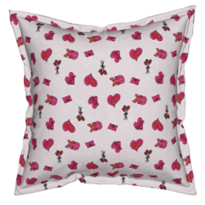 Valentine's Day fabric print pillow gift wrap