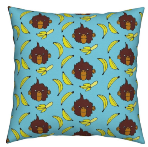 Bananas for monkeys fabric print pillow