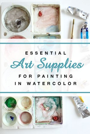 Art Supplies essential for painting in watercolor