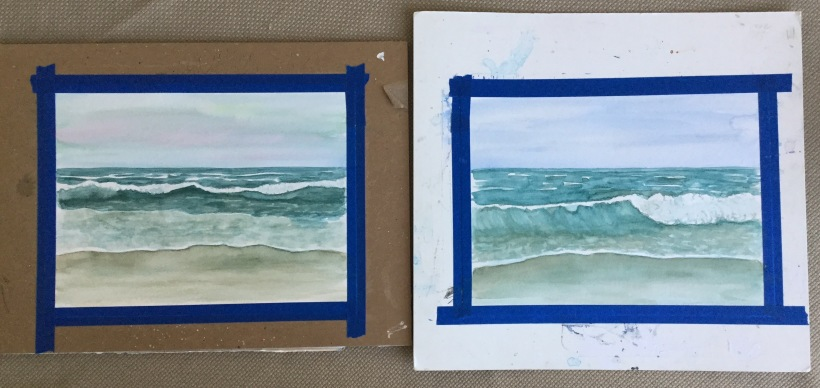 Painting waves in watercolor