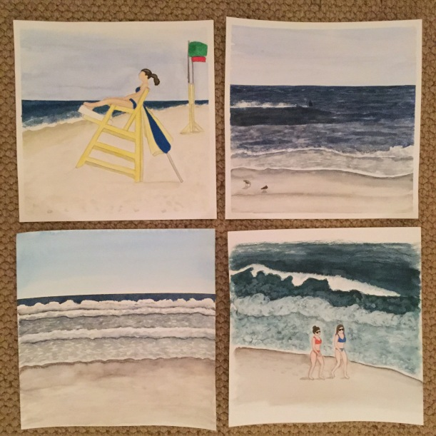 "12"" x 12"" Watercolor beach paintings"