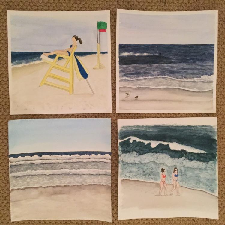 "12"" x 12"" Watercolor beach paintings"
