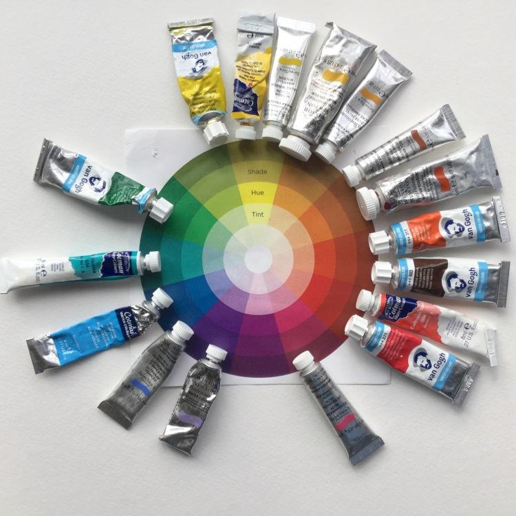 Watercolor paint color wheel