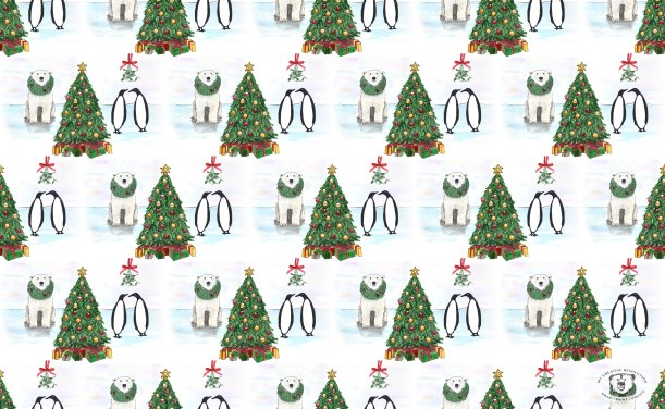 polar bear penguin Christmas pattern with Christmas trees, wreaths, and mistletoe