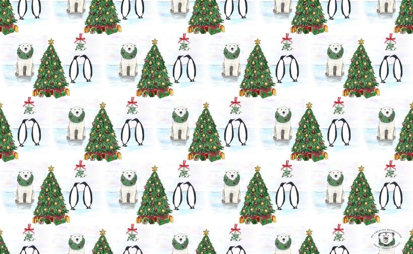 polar bear penguin Christmas pattern with Christmas trees, wreaths, and mistletoe