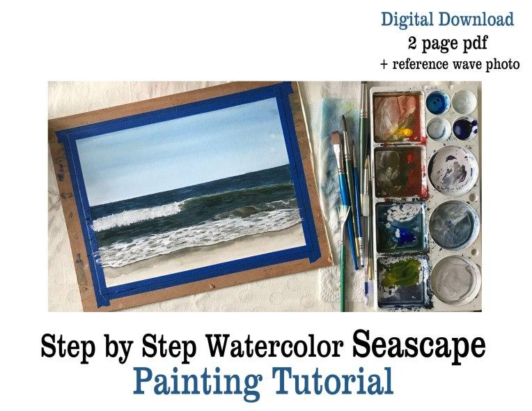 Printable Watercolor Seascape Tutorial