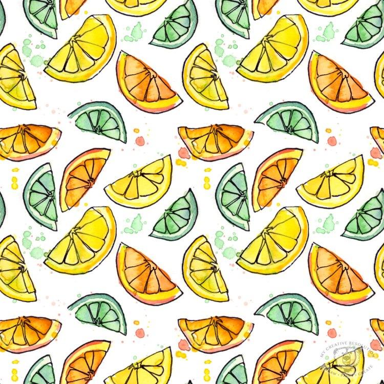Citrus print pattern - lemons, limes, oranges. Available as fabric, gift wrap, wallpaper