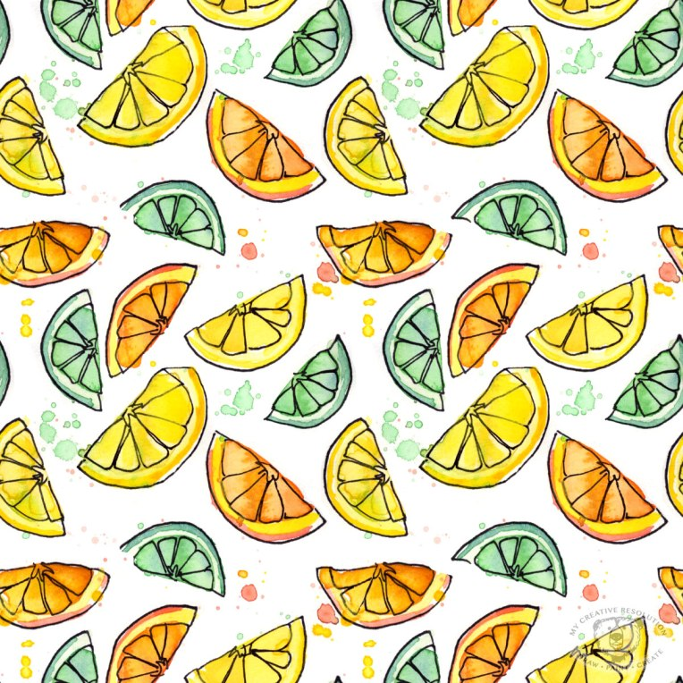 Citrus print pattern - lemons, limes, oranges. Available as fabric, gift wrap, wallpaper