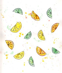 Citrus fruit watercolor and ink sketchbook page
