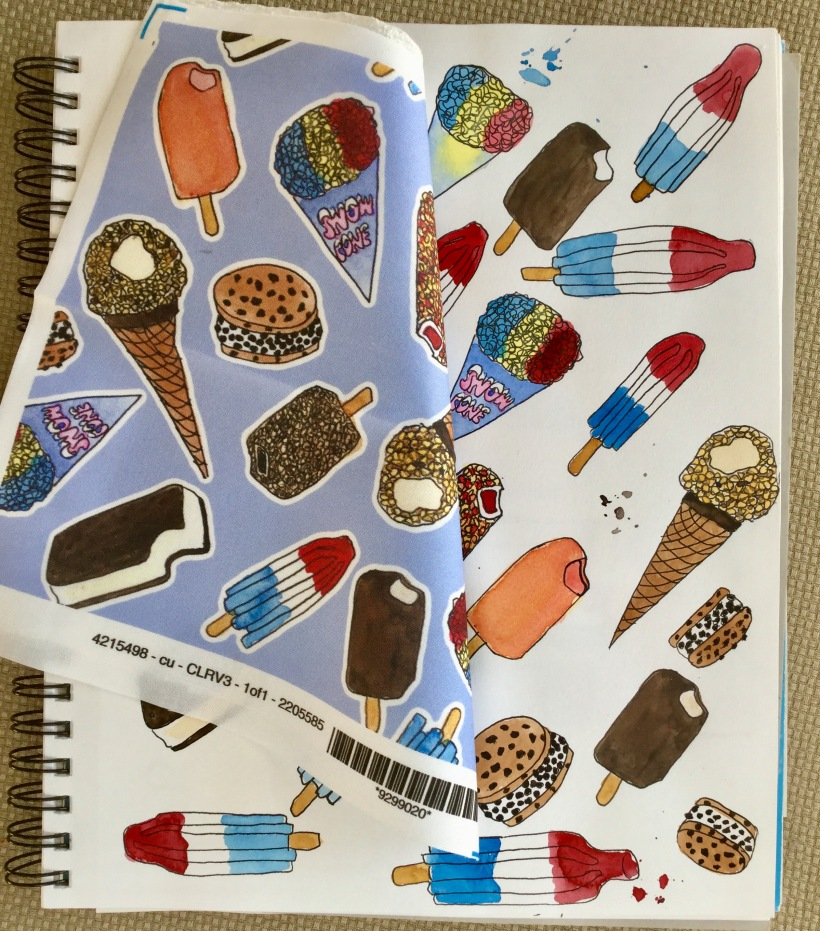 Ice cream truck print pattern / fabric