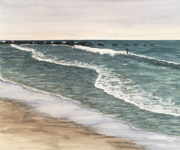 Watercolor beach painting