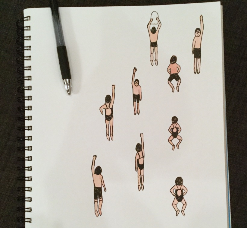 Swimmers in my sketchbook. An idea for a pattern design.