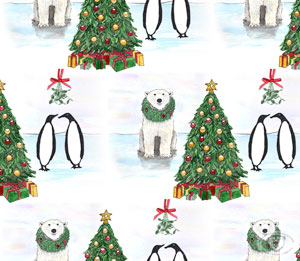 Penguin Polar Bear Christmas print pattern