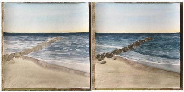 Watercolor jetty. Beach painting in progress.