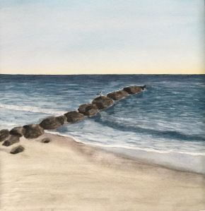 Watercolor jetty. Beach painting. Painting waves/the ocean.