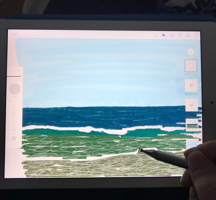Drawing on the iPad in Adobe Sketch