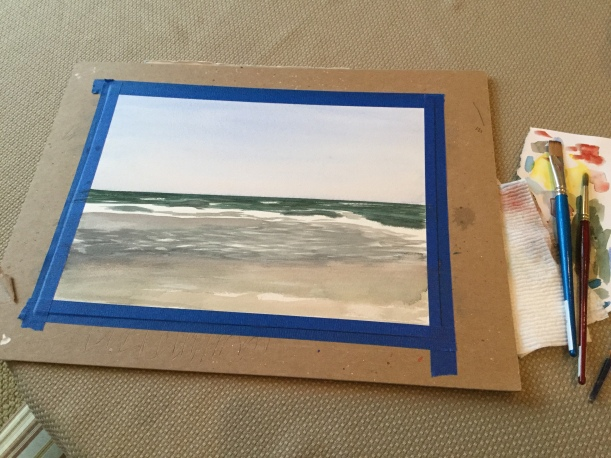 The start of a beach painting