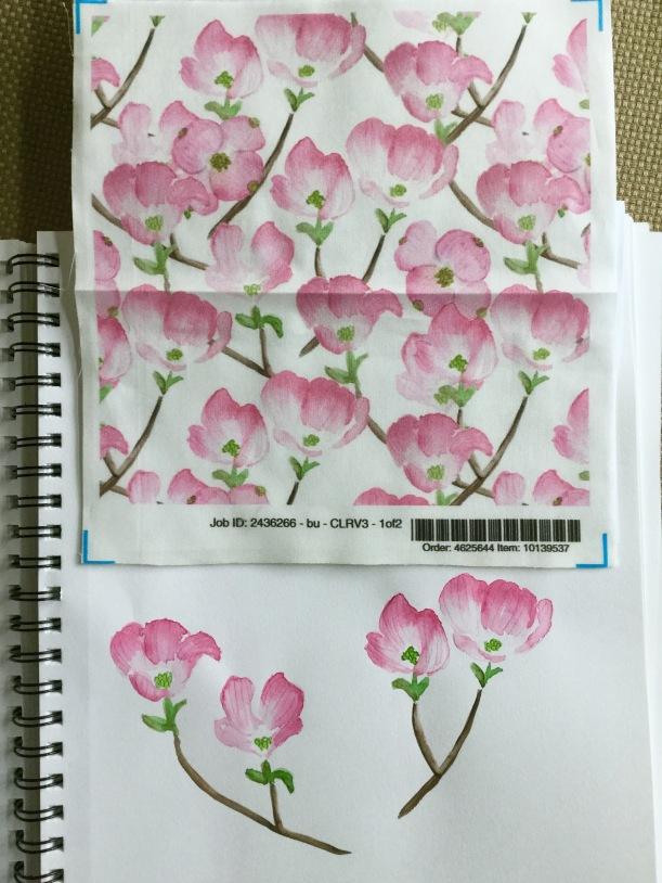 Pink dogwood flower print pattern