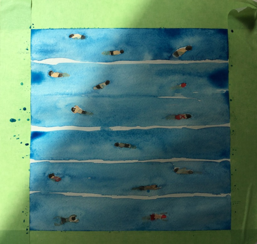 Process for painting swimming pool in watercolor
