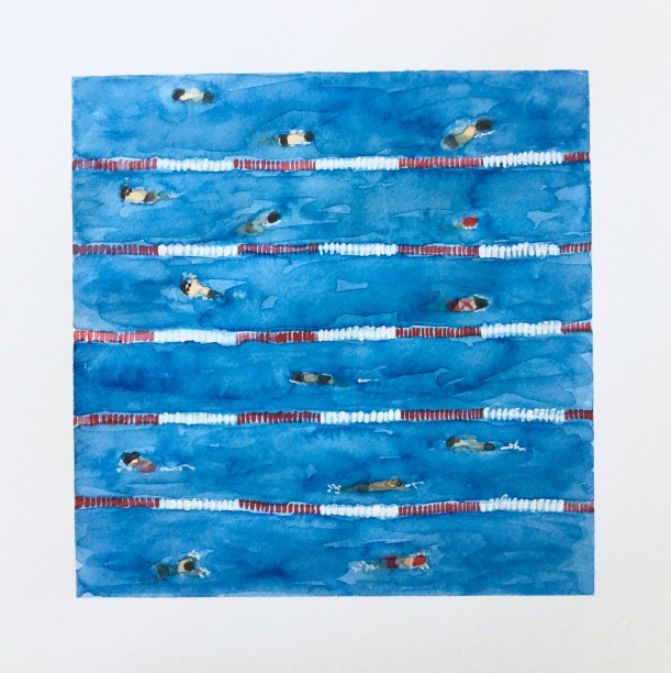 Swim meet warm ups. Painting swimming pools in watercolor.