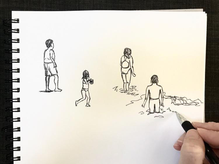 Sketching beach figures