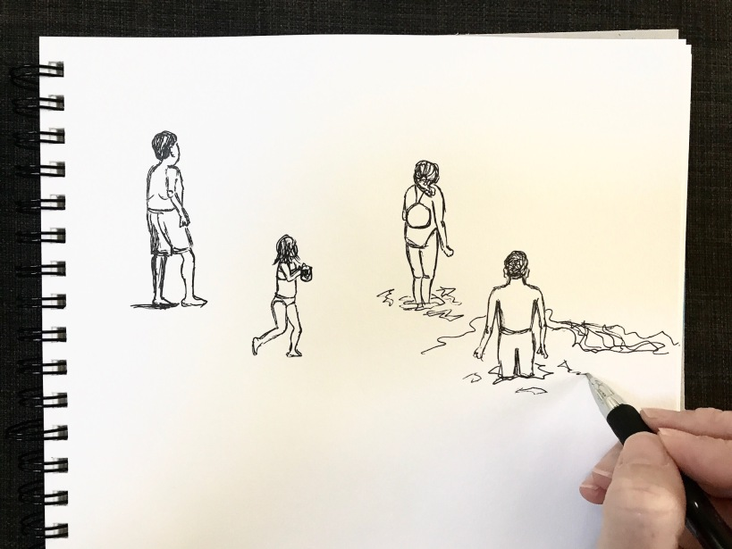 Sketching beach figures