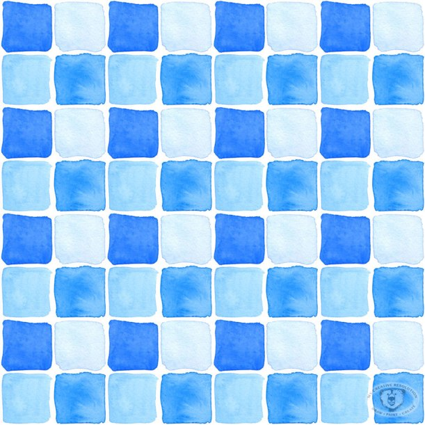 Watercolor pool tiles fabric print design.
