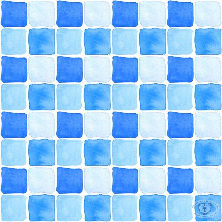 Watercolor pool tiles fabric print design.
