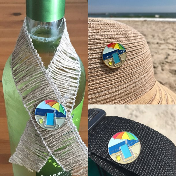 "Beach Pin - 1"" soft enamel pin with rubber clutch. Celebrate summer!"