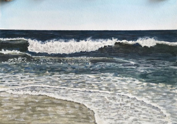 Watercolor beach landscape by Eileen McKenna