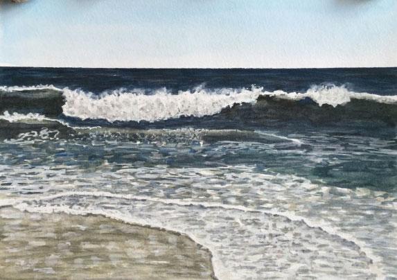 Watercolor beach landscape by Eileen McKenna