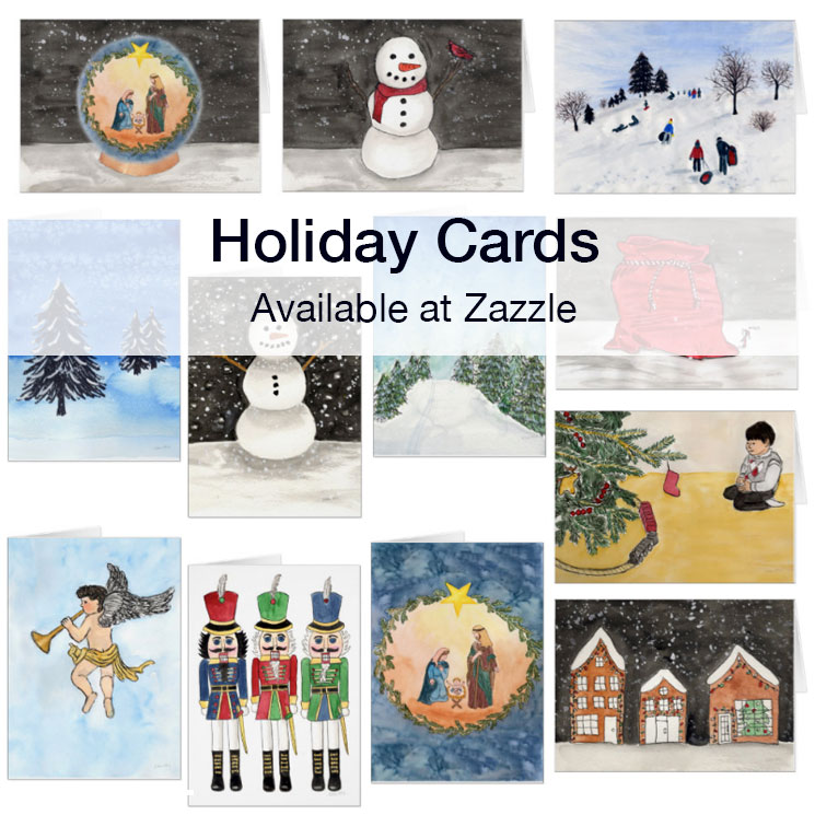 Holiday cards watercolor paintings by Eileen McKenna