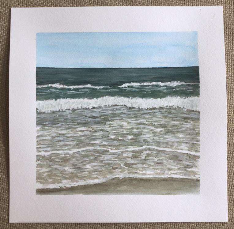 Original beach watercolor landscape by Eileen McKenna
