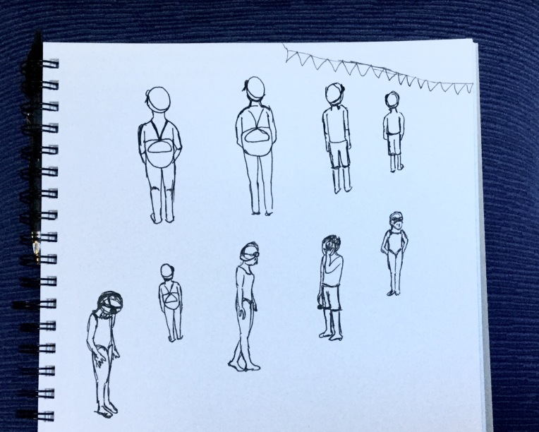 Swimmers waiting to race in my sketchbook